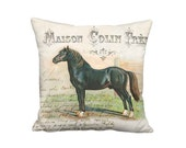 Schleswig Horse Pillow Cover - French Country Horse Pillow - 12x 14x 16x 18x 20x 22x 24x 26x 28x Inch Linen Cotton Black Horse Cushion Cover