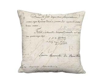 18x18 Inch - READY TO SHIP -  Linen Cotton Famous France Signature Script Pillow - French Script Pillow Cover - Linen Cotton Cushion