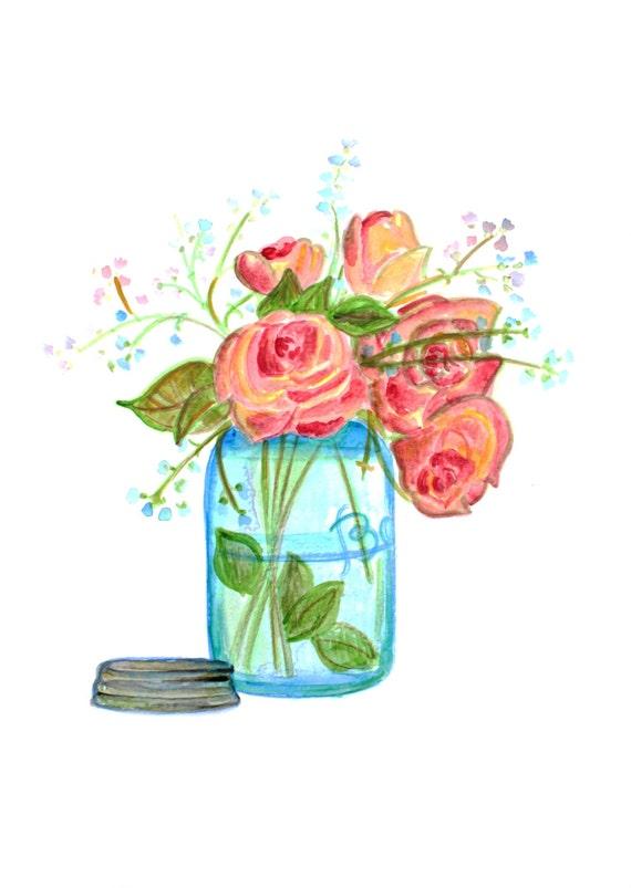 Mason Jar Wall Art, Rose Art, Mason Jar Flowers, Watercolor Rose, Mason Jar Wall Decor, Mason Jar Print, Housewarming Gift, Farmhouse Decor