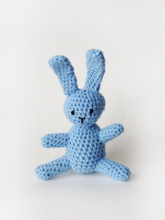 Light Blue Crochet Bunny - Crochet Bunny - Easter Bunny - Easter Basket Bunny - Amigurumi Bunny - Stuffed Animal