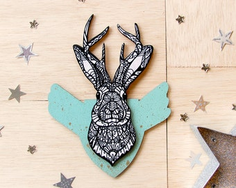 Jackalope Zentangle Mini Mount Art Print
