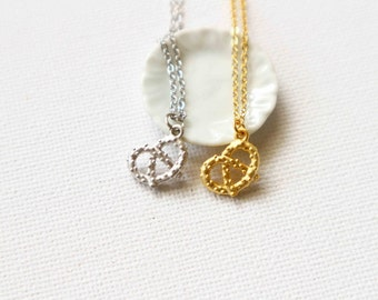 Tiny Pretzel Necklace | Pretzel Charm Silver Or Gold