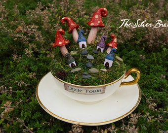 Teacup Pixie Town, Vintage teacup faerie village with saucer, OOAK 4 Houses