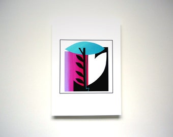 modern art print, original collage art print, contemporary home decor, magenta teal black