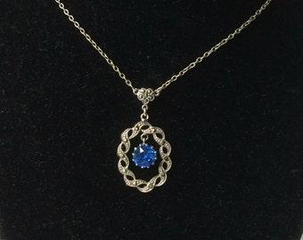 Vintage Marcasite and Sapphire Blue Paste Pendant Necklace