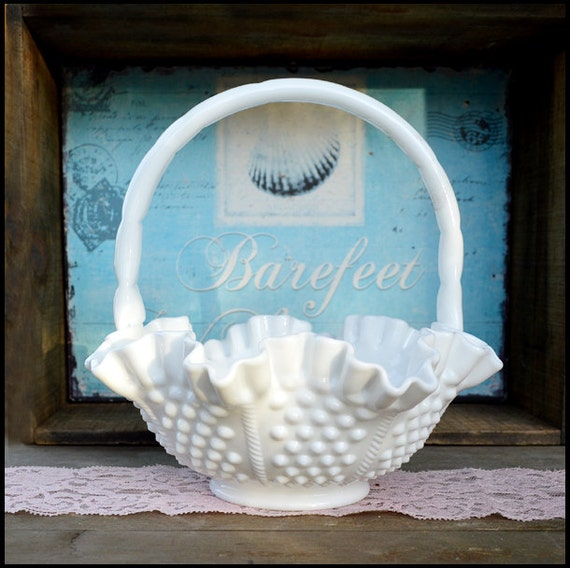 Vintage Fenton Milk Glass Hobnail Basket Flower Girl