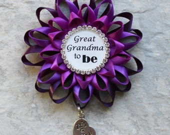 Great Grandma Gift, Great Grandma to Be Gift, Baby Shower Decorations, New Grandma Gift, Baby Shower Corsages, Grandma Pin, Grandparents Pin