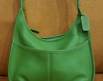 Authentic Vintage 90s Like New GREEN COACH BAG - hand gloved leather