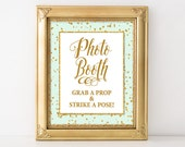 Photo Booth Sign, Mint & Gold Glitter Confetti Shower Sign, Wedding, Baby Shower Sign, 2 Sizes, DIY Printable, INSTANT DOWNLOAD