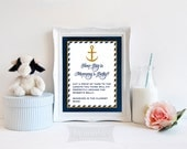 How Big is Mommy's Belly Printable Sign, Nautical Baby Shower Game Print, Anchor, Navy and Gold Shower Game, Baby Boy, INSTANT DOWNLOAD