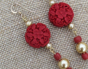 Red Carved Cinnabar Dangle Earrings with 14K Gold Filled Hooks, Her Red Earrings, Her Long Earrings, Asian Style Earrings, Gift for Her