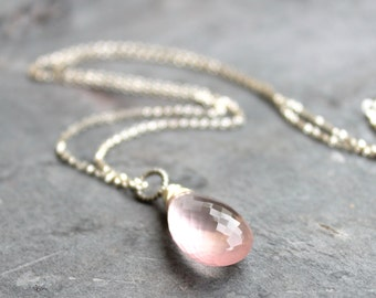 Rose Quartz Necklace Large Focal Briolette Pendant Necklace Pink Teardrop Sterling Silver Rolo Chain Gemstone
