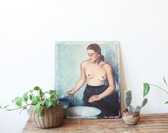 vintage original nude painting, two sided portrait painting