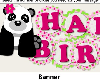 Pink Girl Panda Birthay Party BANNER,Panda Baby Shower Decorations, Panda Party Favors, Invitation, Banner, cupcake toppers