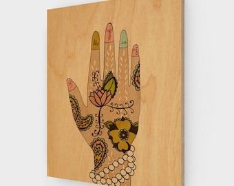 Guru on Wood Panel // Illustration Print, Spiritual, Inspirational, Hindu, Yoga, Ohm, Meditation, Giclee, Digital, Typographic Print, Mendhi