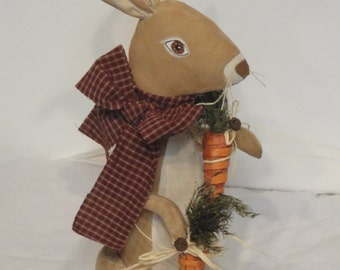 Primitive Rabbit Standing Bunny Cloth Art doll with carrots