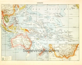 "Antique map of Oceania digital file vintage encyclopedia 9x12"" instant download"