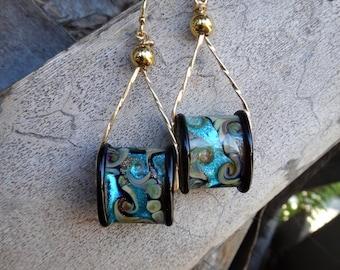 Midnight Ocean Mystery Lampwork Glass Earrings