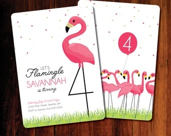 Flamingo invitation 4th birthday, Flamingle, Flamingo Birthday invitation - digital file