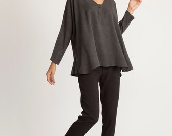 Fall  black oversize kimono tunic, one size fits all, Oversized kimono tunic, one size fits all, loose fit kimono top