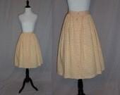 """50s Full Skirt - Brown White - Gingham Check - Cotton Blend - Vintage 1950s - 25"""" waist"""