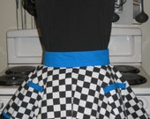 50's Diner Checkerboard Ladies Fancy Hostess Half Apron Black White and Teal