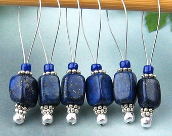 Stitch Markers, Knitting, Lapis Lazuli, Semi-Precious Stones, Blue, Snag Free, Jeweled Tool, Knitting Accessory, Supplies, Gift for Knitters