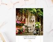 SALE - 2017 European Cafe Calendar - 5x7 Photography Desk Calendar - Travel Photography - Gift for Her - Paris Italy Copenhagen Greece