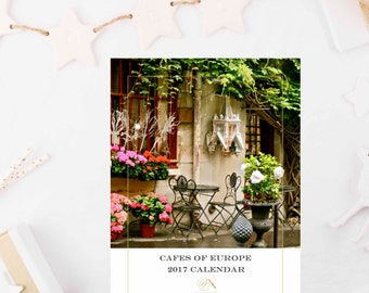 SALE - 2017 European Cafe Calendar - 5x7 Photography Desk Calendar - Travel Photography - Gift for Her - Paris Italy Copenhagen Greece