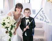 Don't Worry Ladies, I'm Still Single Wedding Sign   Funny Ring Bearer Banner   Large Flag Handmade in the USA   Romantic Script Font
