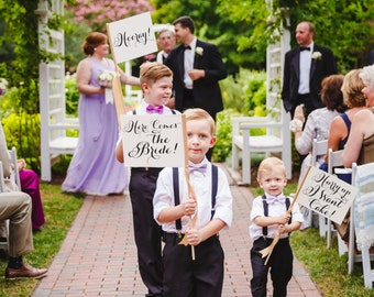 Set of 3 Wedding Signs Here Comes the Bride! + Hooray! + Hurry Up I Want Cake! Package Ring Bearer Banner Flower Girl Modern Script 1114 SRW