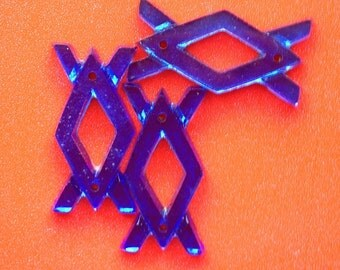BWB (4) Interesting Glass Geometric Vintage Puzzle Sew-ons or Mosaics All in One! Deep Sapphire Blue made in Germany