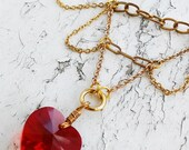 Valentines Day Red Glass Crystal Heart Pendant Gold Tone Jewelry Necklace