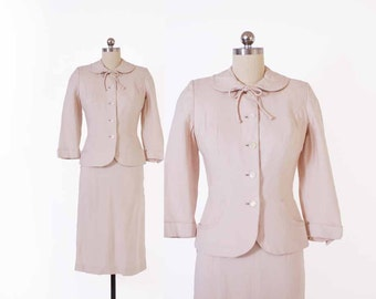 Vintage 50s SUIT / Late 50s Early 60s Ivory Tailored Blazer Jacket & Pencil Skirt Set XS
