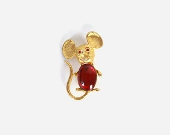 Vintage 60s MOUSE BROOCH / 1960s Gold Park Lane Signed Red Jelly Belly Mouse Pin