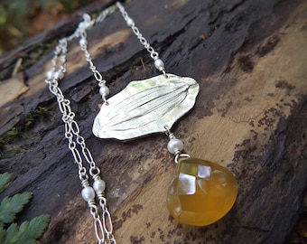 Helianthus, Sunflower- Fine Silver Real Flower Petal Necklace with Honey Chalcedony and Pearl - by Quintessential Arts