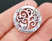 2 Mom Family Tree Charms Antique Silver Tone - SC5391