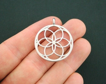 BULK 20 Seed of Life Charms Antique Silver Tone Stunning 2 Sided - SC5593