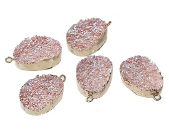 Pink Resin Druzy Pendant Gold Plated Larger Size 35mm x 23mm - Z188