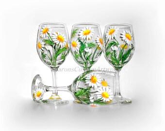 Springtime White Daisies Hand Painted Wine Glasses Set of 4 / 20 oz. Wine Glasses  Wine  Handpainted  Wine Glasses White Daisies Daisy