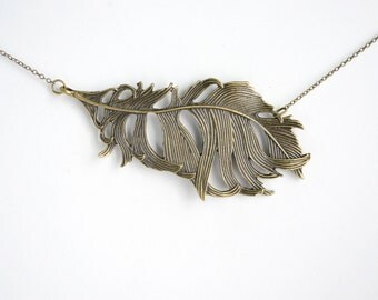 Metal Feather Necklace, Large Feather Pendant, Statement Jewelry