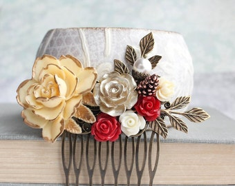 Bridal Hair Comb Gold Rose Comb Deep Red Rose Comb Wedding Hair Piece Floral Collage Ivory Cream Rose Branch Comb Pine cone pearl acorn