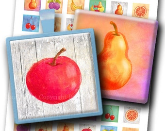 1x1 inch squares COLORFUL FRUITS Printable Images. Digital Collage Sheet for jewelry. Cute fruit images. Instant digital download.