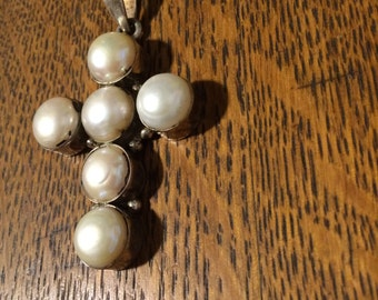 Large Fresh Water Pearl and Sterling Cross Pendant