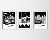 London Paris New York Art Prints , Black White Travel City Nursery Art , Kid's Wall Art , Dorm Living Room London New York Paris Wall Decor