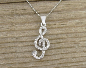 Diamond Pendant, Treble Clef Diamond  Pendant,  Diamond necklace, Designer 14k gold music note necklace, Gold and Diamond Pendant,