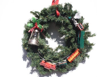 Vintage Christmas Wreath Train Railroad Hand Crafted Hand Made Train Wreath OOAK