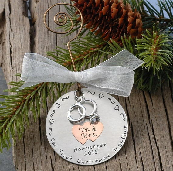 Baby First Christmas Ornament Personalized Silver