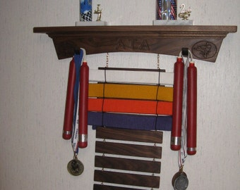 Solid Walnut Arch Style Martial Arts Rank Belt Display Rack with Shelf for Trophies, hold 12 belts but can add or subtract any number
