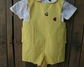 Vintage Yellow & White Bumble Bee Romper By Designers Studio Size 4